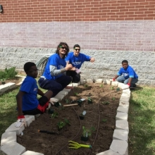 Enes Kanter & Steven Adams plant veggies with The Boys & Girls Club