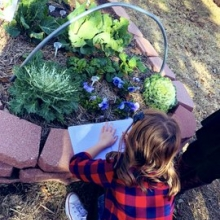 Students practice recording what they observe in the garden.
